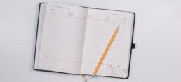 daily personal planner and calendar with pencil