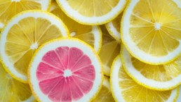 pink and yellow lemon slices