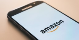 amazon logo on smartphone screen